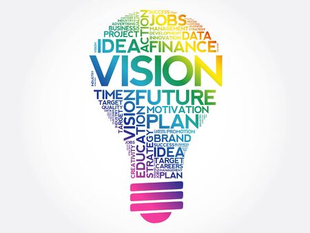 VISION bulb word cloud collage, business concept
