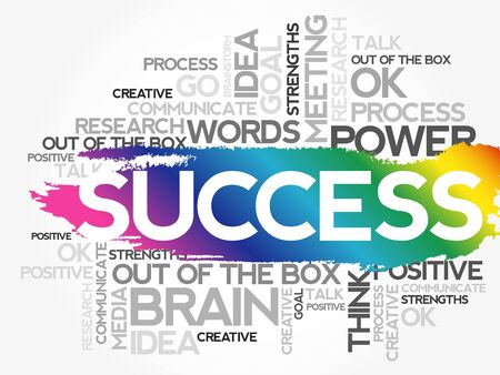 Success concept related words in tag cloud isolated on white background