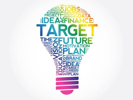 TARGET bulb word cloud collage, business concept background