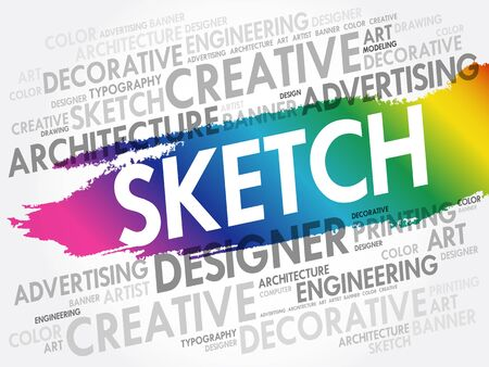 SKETCH word cloud, creative business concept background