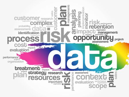 DATA word cloud collage, business concept background Ilustração