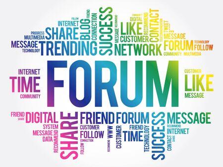 Forum word cloud, technology business concept background Vetores