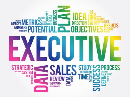 Executive word cloud collage, business concept background Vetores