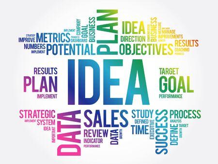 Idea word cloud collage, business concept background Illustration