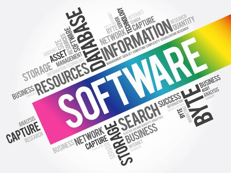 Software word cloud collage, business concept background Ilustracja