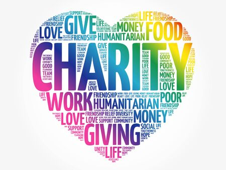Charity heart word cloud collage, concept background
