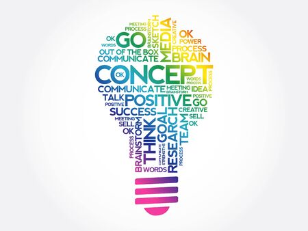 CONCEPT bulb word cloud collage, business concept background