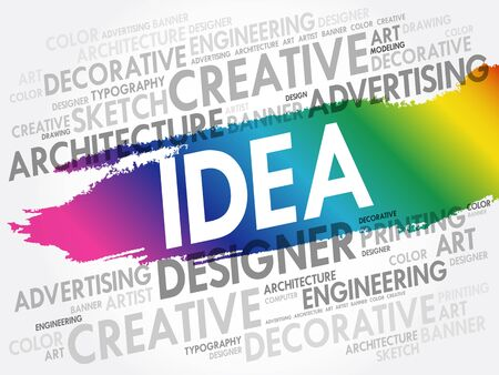 Idea word cloud collage, business concept background 向量圖像