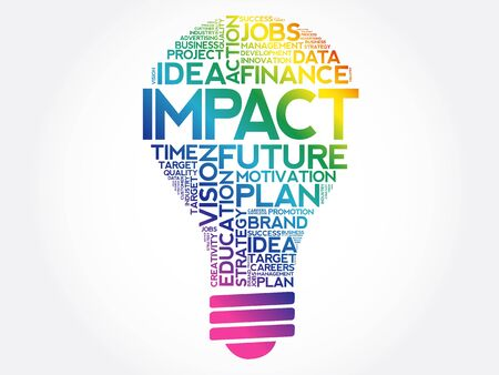 IMPACT bulb word cloud collage, business concept background
