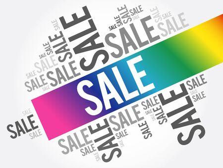 Sale word cloud collage, business concept background 向量圖像