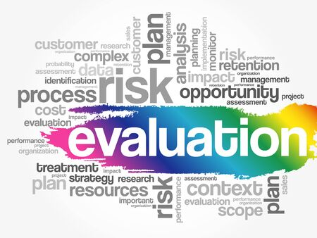 Evaluation word cloud collage, business concept background Vector Illustration