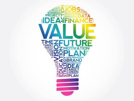 VALUE bulb word cloud collage, business concept background
