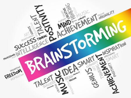 Brainstorming word cloud collage, creative business concept background 向量圖像