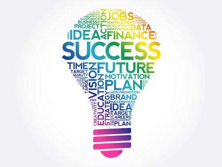 SUCCESS bulb word cloud collage, business concept