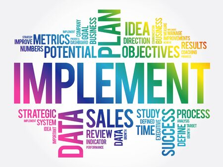 Implement word cloud collage, business concept background
