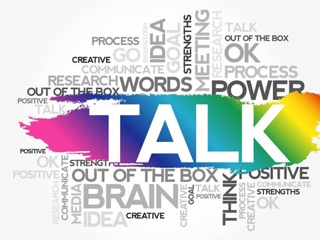 TALK Word collage background. Different association terms
