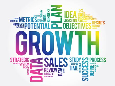 Growth word cloud collage, business concept background