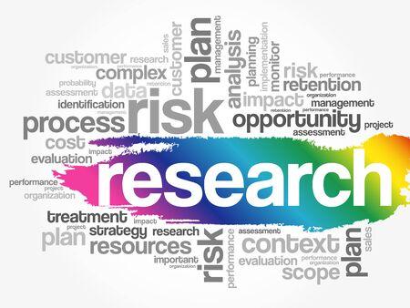Research word cloud collage, business concept background Ilustración de vector