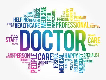 Doctor word cloud collage, healthcare concept background Vektoros illusztráció