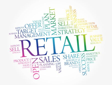 Retail word cloud, business concept background