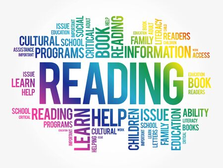Reading word cloud collage, education concept background 向量圖像