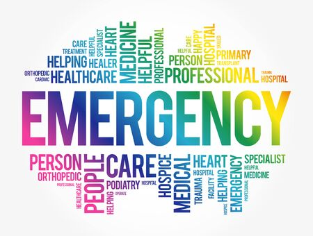 Emergency word cloud collage, healthcare concept background 向量圖像
