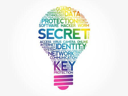 SECRET bulb word cloud collage, business concept background