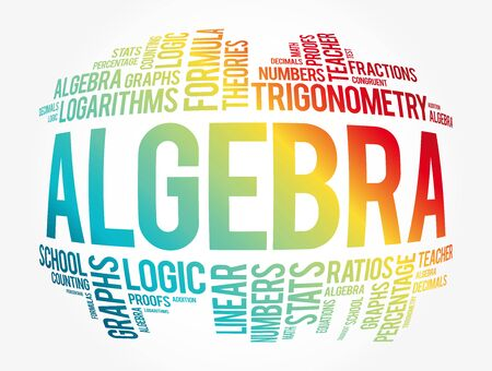 Algebra word cloud collage, education concept background Stock Illustratie