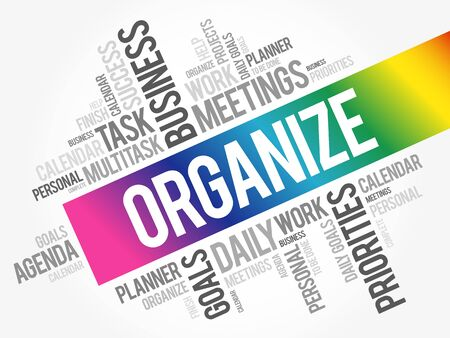 Organize word cloud collage, business concept background 向量圖像