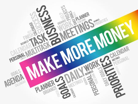 Make More Money word cloud collage, business concept background 向量圖像