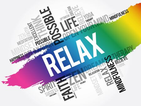 Relax word cloud collage, concept background