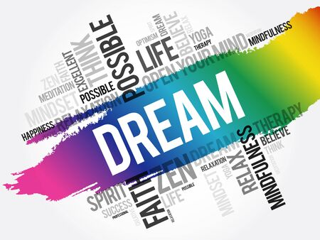 Dream word cloud collage, concept background 向量圖像