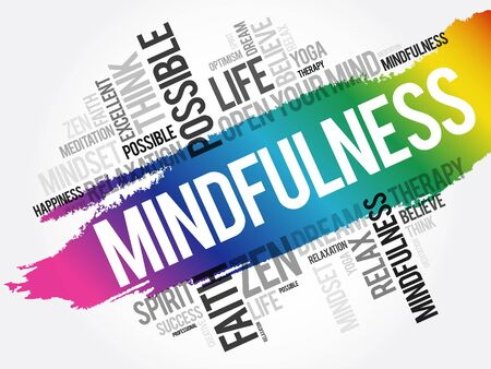 Mindfulness word cloud collage, concept background 向量圖像