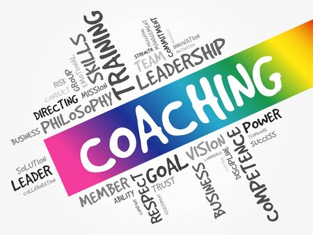 COACHING word cloud collage, education business concept background