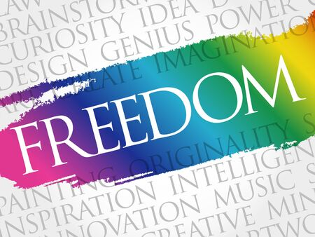 Freedom word cloud collage, business concept background