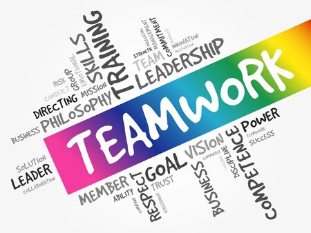 TEAMWORK word cloud collage, business concept background 向量圖像