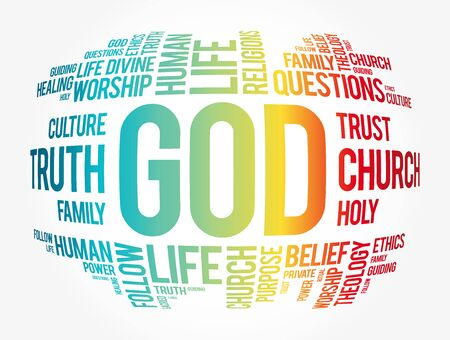 GOD word cloud collage, religion concept background