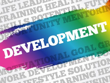 Development word cloud collage, business concept background 向量圖像