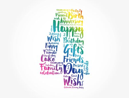 Happy 4th birthday word cloud collage concept