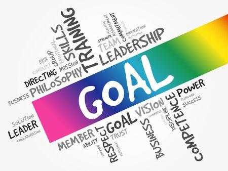 Goal word cloud, business concept background Vektoros illusztráció