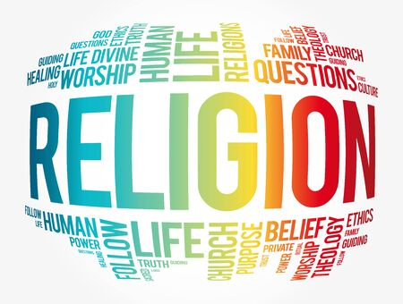 Religion word cloud collage, social concept background 向量圖像