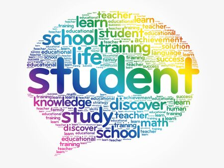 STUDENT Think Bubble word cloud collage, business concept background Stock Illustratie