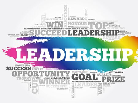 LEADERSHIP word cloud collage, business concept background 向量圖像