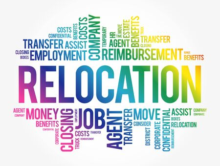 Relocation word cloud collage, business concept background Vetores