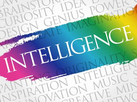 Intelligence word cloud collage, business concept background