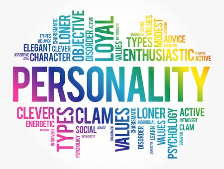 Personality word cloud collage, social concept background