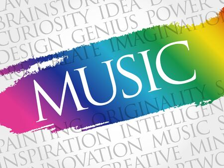 Music word cloud collage, concept background