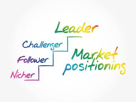 Market positioning leader, business timeline concept Иллюстрация