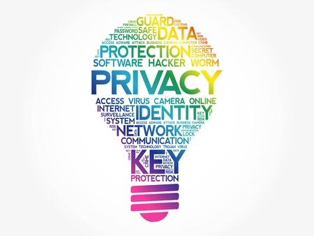 PRIVACY bulb word cloud collage, business concept background Vetores