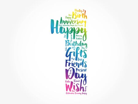 Happy 1st birthday word cloud collage concept
